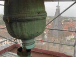 Système de fixation de la girouette. Cette boule de cuivre fait le joint entre la girouette et le mât sur laquelle elle est fixée.